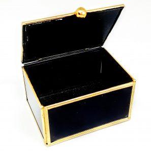 Glazen doosje zwart/goud (8x6x5 cm)