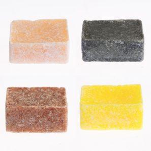 4 verschillende amberblokjes