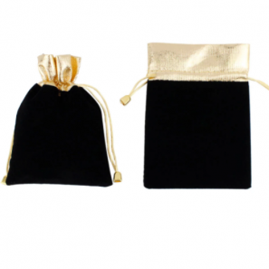 Fluwelen zakje zwart met goud