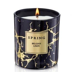 Geurkaars zwart goud marmer - Spring by InteriorScent