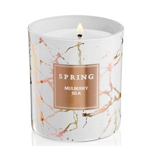 Geurkaars wit rose goud marmer - Spring by InteriorScent
